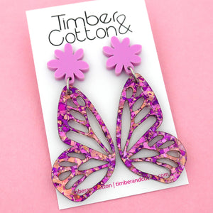 Unicorn Flake Butterfly Dangle Earring- Timber & Cotton