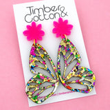 Golden Rainbow Flake Butterfly Dangle Earring- Timber & Cotton