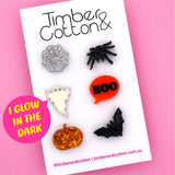 GLOW IN THE DARK Halloween Mismatch Stud Earring Pack- Timber & Cotton