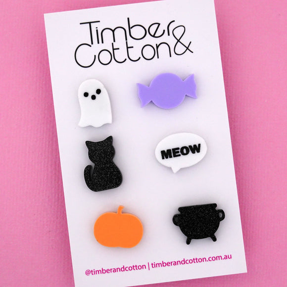 Pastel Halloween Mismatch Stud Earring Pack- Timber & Cotton
