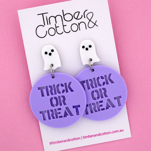 Ghost 'Trick or Treat' Halloween Dangle Earring- Timber & Cotton