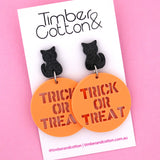 Cat 'Trick or Treat' Halloween Dangle Earring- Timber & Cotton