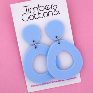 Mia 'Matte Pastel Blue' Dangle Earring- Timber & Cotton