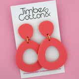 Mia 'Matte Coral' Dangle Earring- Timber & Cotton