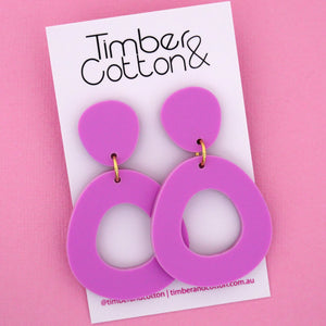Mia 'Matte Sour Grape' Dangle Earring- Timber & Cotton