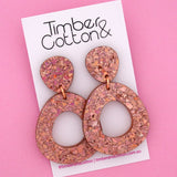 Mia 'Holographic Rose Gold Flake' Dangle Earring- Timber & Cotton