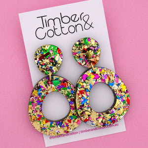 Mia 'Golden Rainbow Flake' Dangle Earring- Timber & Cotton