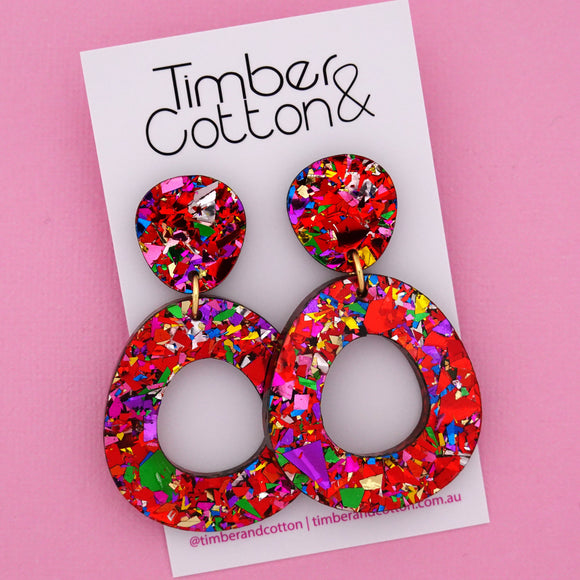 Mia 'Red Rainbow Flake' Dangle Earring- Timber & Cotton