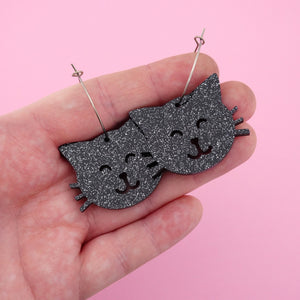 Black Glitter Cat Face Hoops Halloween Dangle Earring- Timber & Cotton