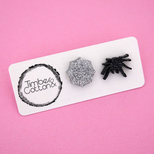 Spider Web & Spider Stud Earrings - Timber & Cotton