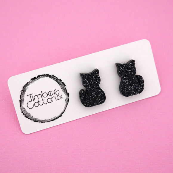 Cats in Black Glitter Stud Earrings - Timber & Cotton