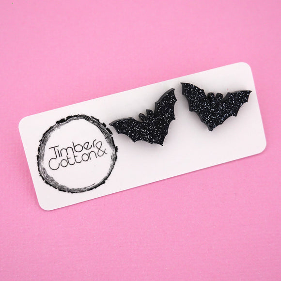 Bats in Black Glitter Stud Earrings - Timber & Cotton