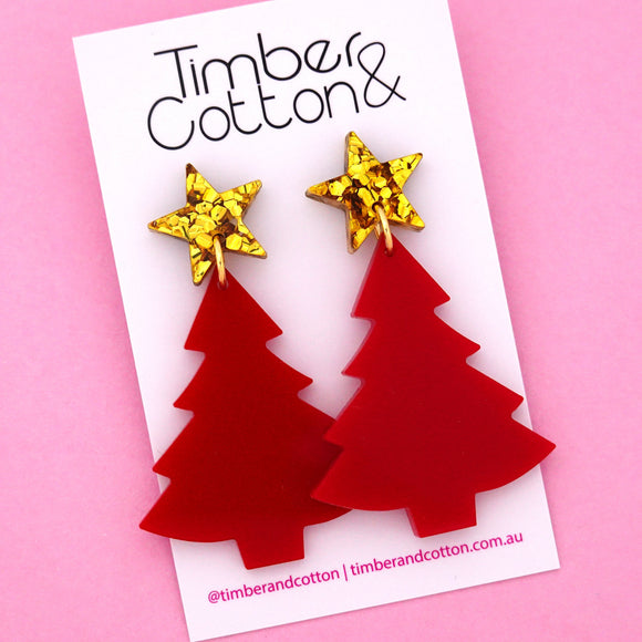 'Oh Christmas Tree' Dangle Earrings in Gold Flake & Red- Timber & Cotton