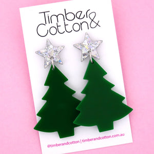 'Oh Christmas Tree' Dangle Earrings in Holographic Silver Flake & Green- Timber & Cotton