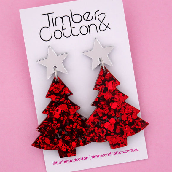 'Oh Christmas Tree' Dangle Earrings in Silver Mirror & Red Flake Glitter- Timber & Cotton