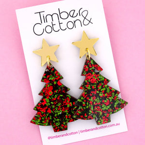 'Oh Christmas Tree' Dangle Earrings in Gold Mirror & Christmas Flake- Timber & Cotton