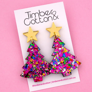 'Oh Christmas Tree' Dangle Earrings in Gold Mirror & Rainbow Flake- Timber & Cotton