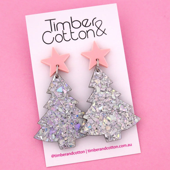 'Oh Christmas Tree' Dangle Earrings in Blush Pink & Holographic Silver Flake- Timber & Cotton