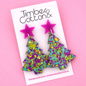 'Oh Christmas Tree' Dangle Earrings in Purple & Peacock Flake- Timber & Cotton