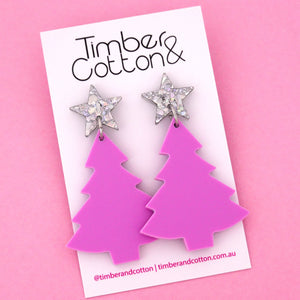 'Oh Christmas Tree' Dangle Earrings in Holographic Silver Flake & Sour Grape- Timber & Cotton