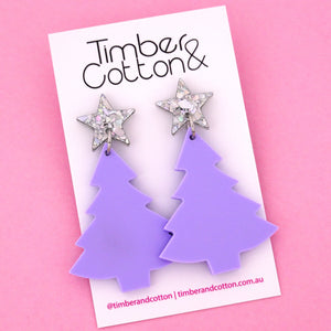 'Oh Christmas Tree' Dangle Earrings in Holographic Silver Flake & Matte Lilac- Timber & Cotton