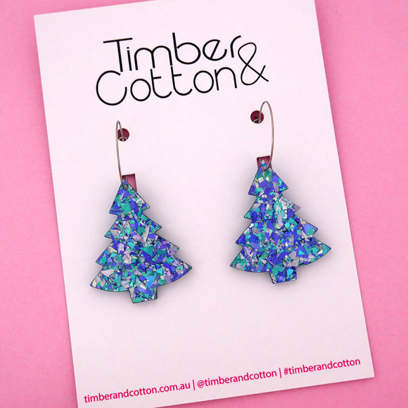 'Oh Christmas Tree' Hoop Earring in Ocean Flake- Timber & Cotton