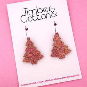 'Oh Christmas Tree' Hoop Earring in Holographic Rose Gold Flake- Timber & Cotton