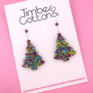 'Oh Christmas Tree' Hoop Earring in Peacock Flake- Timber & Cotton