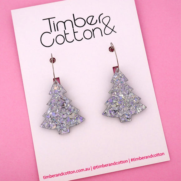 'Oh Christmas Tree' Hoop Earring in Holographic Silver Flake- Timber & Cotton