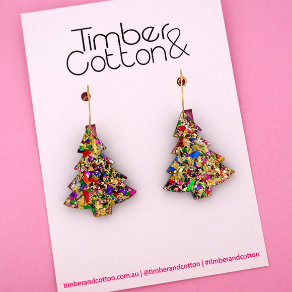 'Oh Christmas Tree' Hoop Earring in Golden Rainbow Flake- Timber & Cotton