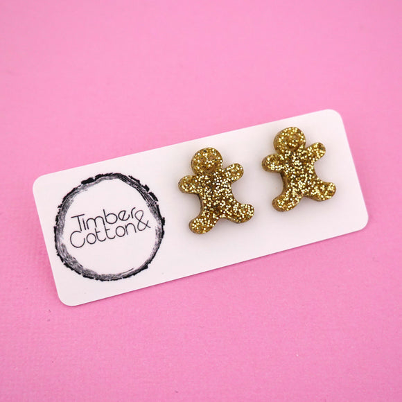 Gingerbread Man 'Gold Glitter' Stud Earrings - Timber & Cotton