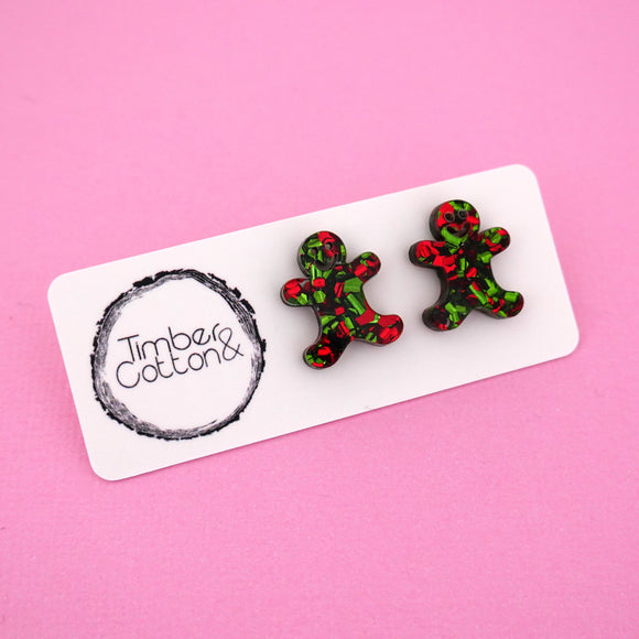 Gingerbread Man 'Christmas Flake' Stud Earrings - Timber & Cotton