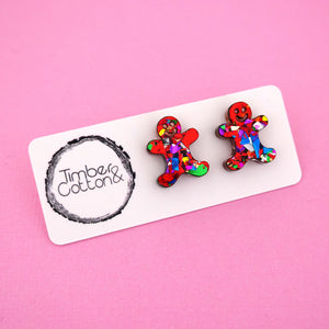 Gingerbread Man 'Red Rainbow Flake' Stud Earrings - Timber & Cotton