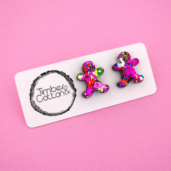 Gingerbread Man 'Pink Rainbow Flake' Stud Earrings - Timber & Cotton