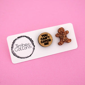'You Can't Catch Me' Stud Earrings - Timber & Cotton