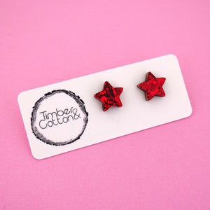 Star 'Red Flake' Stud Earrings - Timber & Cotton