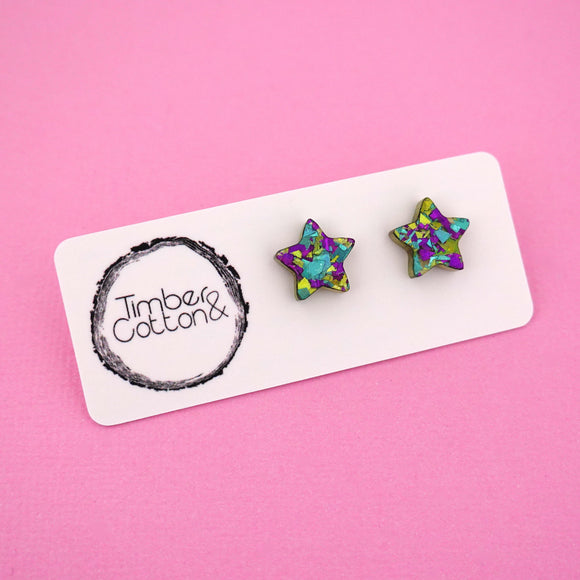 Star 'Peacock Flake' Stud Earrings - Timber & Cotton