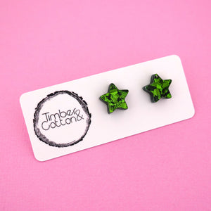 Star 'Green Flake' Stud Earrings - Timber & Cotton