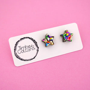 Star 'Golden Rainbow Flake' Stud Earrings - Timber & Cotton