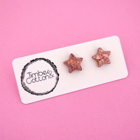 Star 'Holographic Rose Gold Flake' Stud Earrings - Timber & Cotton
