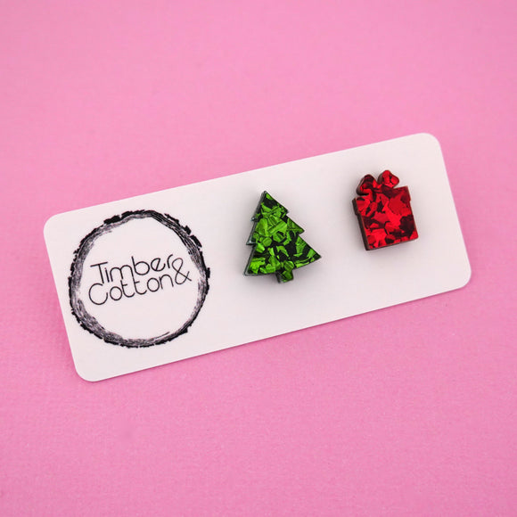 Christmas Tree & Present 'Green & Red Flake' Mismatch Stud Earrings - Timber & Cotton