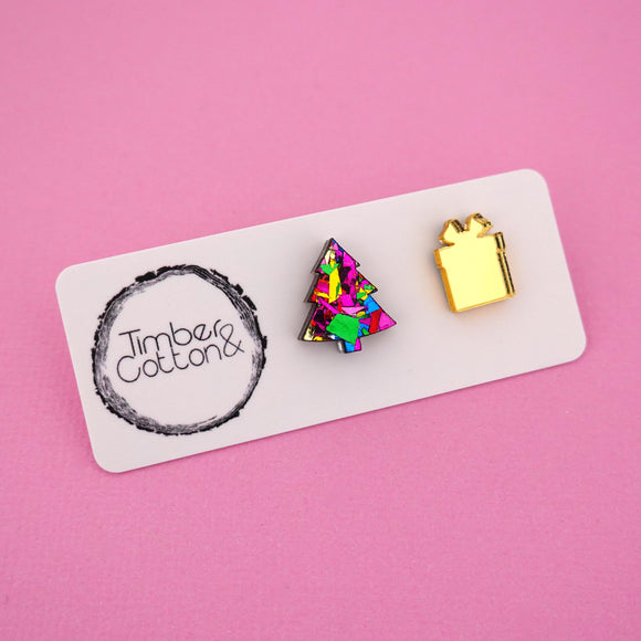 Christmas Tree & Present 'Pink Rainbow Flake & Gold Mirror' Mismatch Stud Earrings - Timber & Cotton