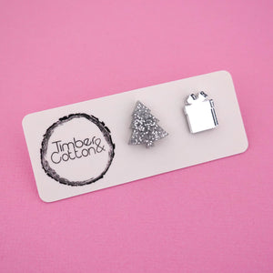 Christmas Tree & Present 'Silver Glitter & Silver Mirror' Mismatch Stud Earrings - Timber & Cotton