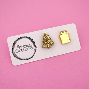 Christmas Tree & Present 'Gold Glitter & Gold Mirror' Mismatch Stud Earrings - Timber & Cotton