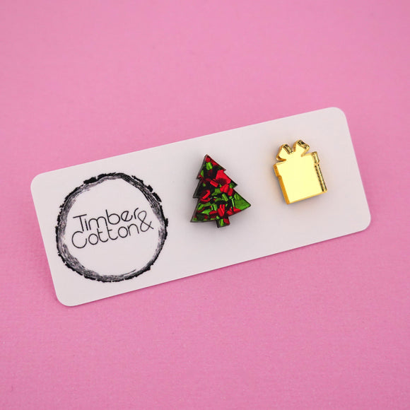Christmas Tree & Present 'Christmas Flake & Gold Mirror' Mismatch Stud Earrings - Timber & Cotton