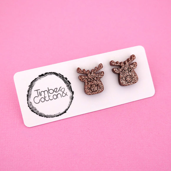 Reindeer 'Copper Glitter' Stud Earrings - Timber & Cotton