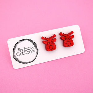 Reindeer 'Red Glitter' Stud Earrings - Timber & Cotton