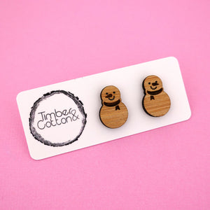 Snowman Stud Earrings - Timber & Cotton
