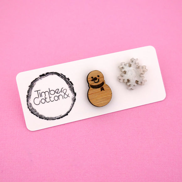Snowman & Snowflake Mismatch Stud Earrings - Timber & Cotton