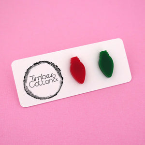 Christmas Lights 'Red & Green' Mismatch Stud Earrings - Timber & Cotton
